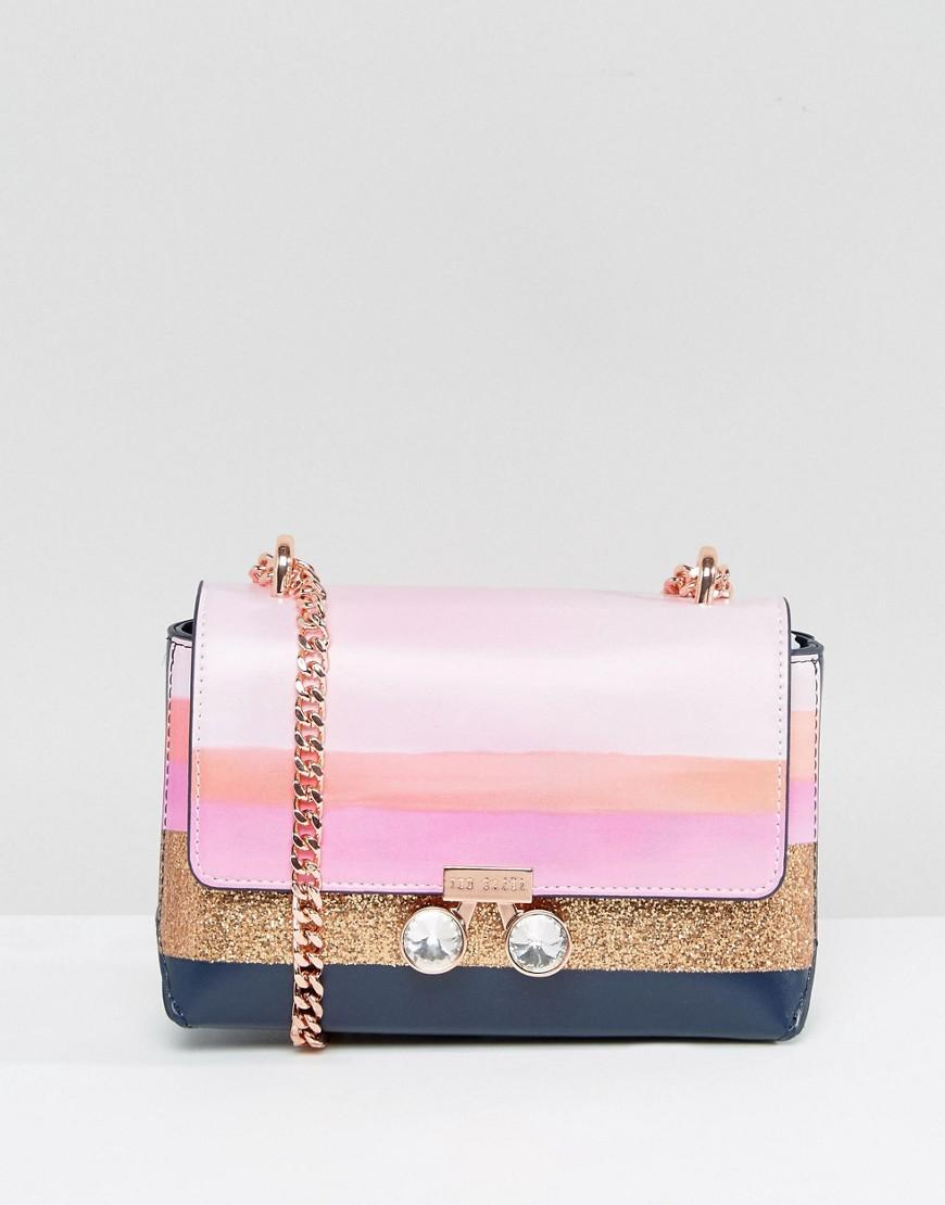 29f0f927bafed1 Ted Baker Orchid Mosaic Stripe Micro Cross Body Bag in Pink - Lyst