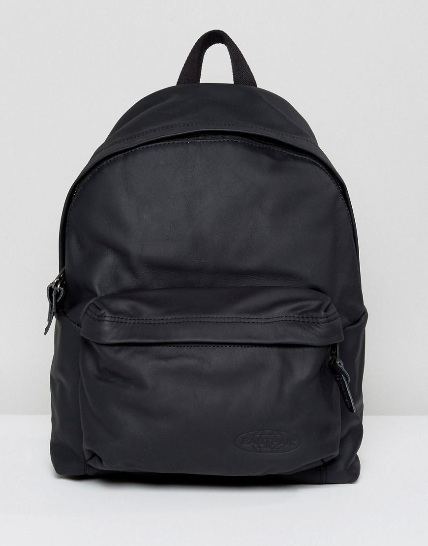 Leather Eastpak Backpack: Eastpak Padded Pak'r Backpack In Leather 24l In Black For