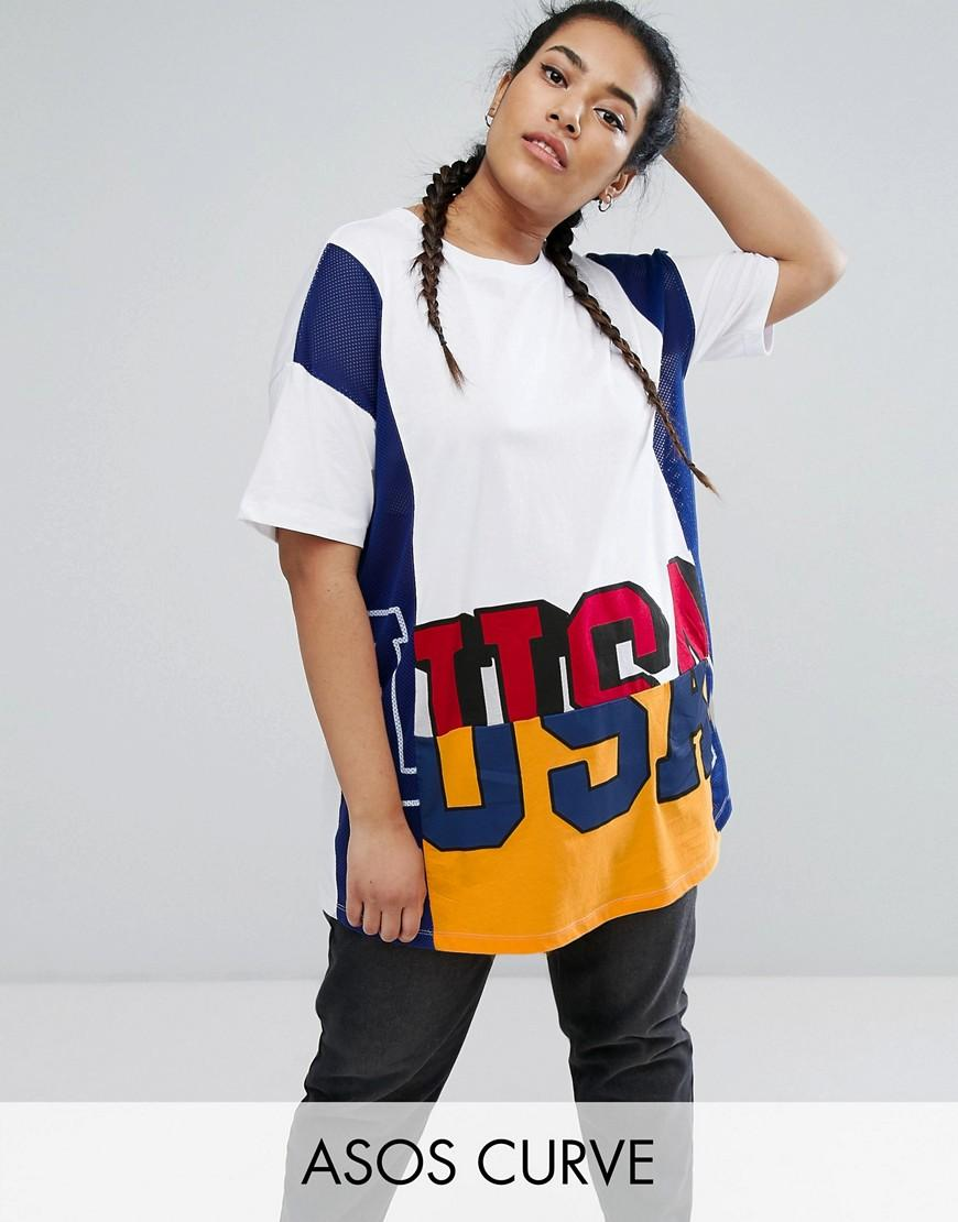 Asos t shirt with cutabout usa print in mixed fabric in for Asos design free t shirt