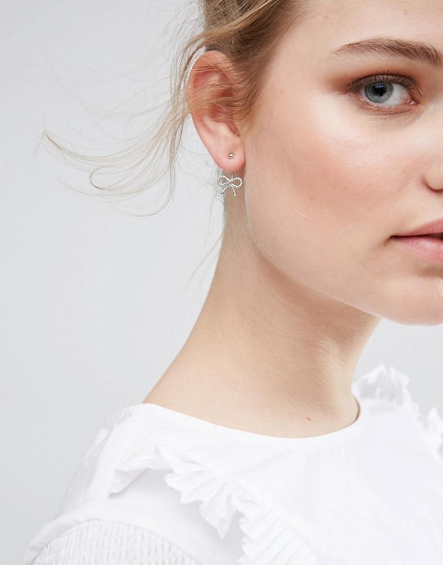 Olivia Burton Vintage Bow Jacket Earrings In Silver In