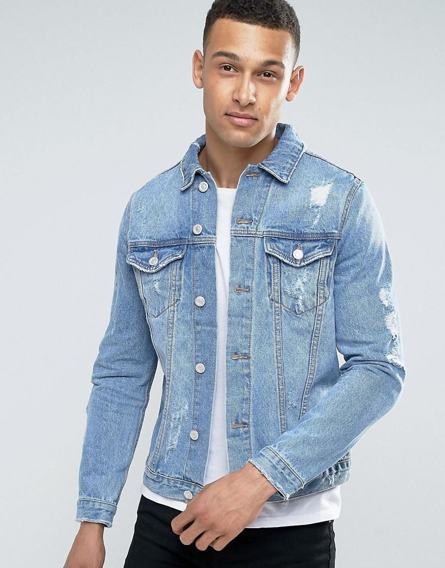 New Look Denim Jacket With Abrasions In Mid Wash Blue In