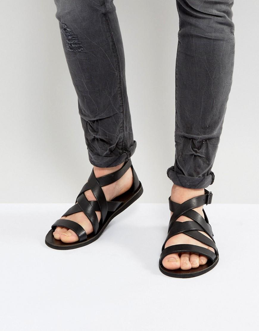 Lyst Allsaints Leather Gladiator Sandal In Black For Men