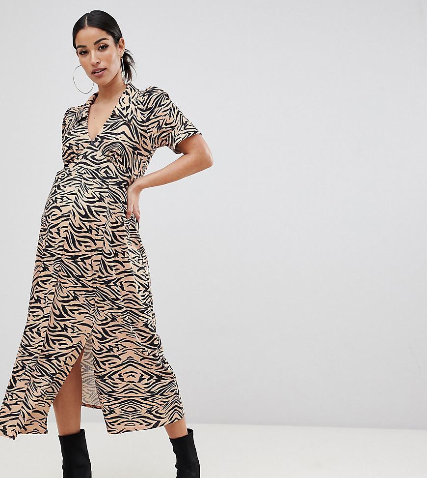 85b69cf397b ASOS. Women s Asos Design Maternity Animal Print Midi Tea Dress In Rib