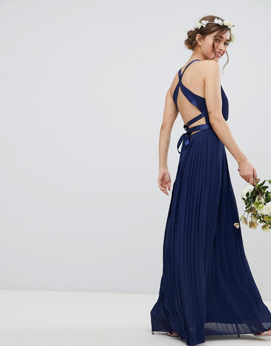 03f5c340e9 TFNC London - Blue Pleated Maxi Bridesmaid Dress With Cross Back And Bow  Detail - Lyst. View fullscreen