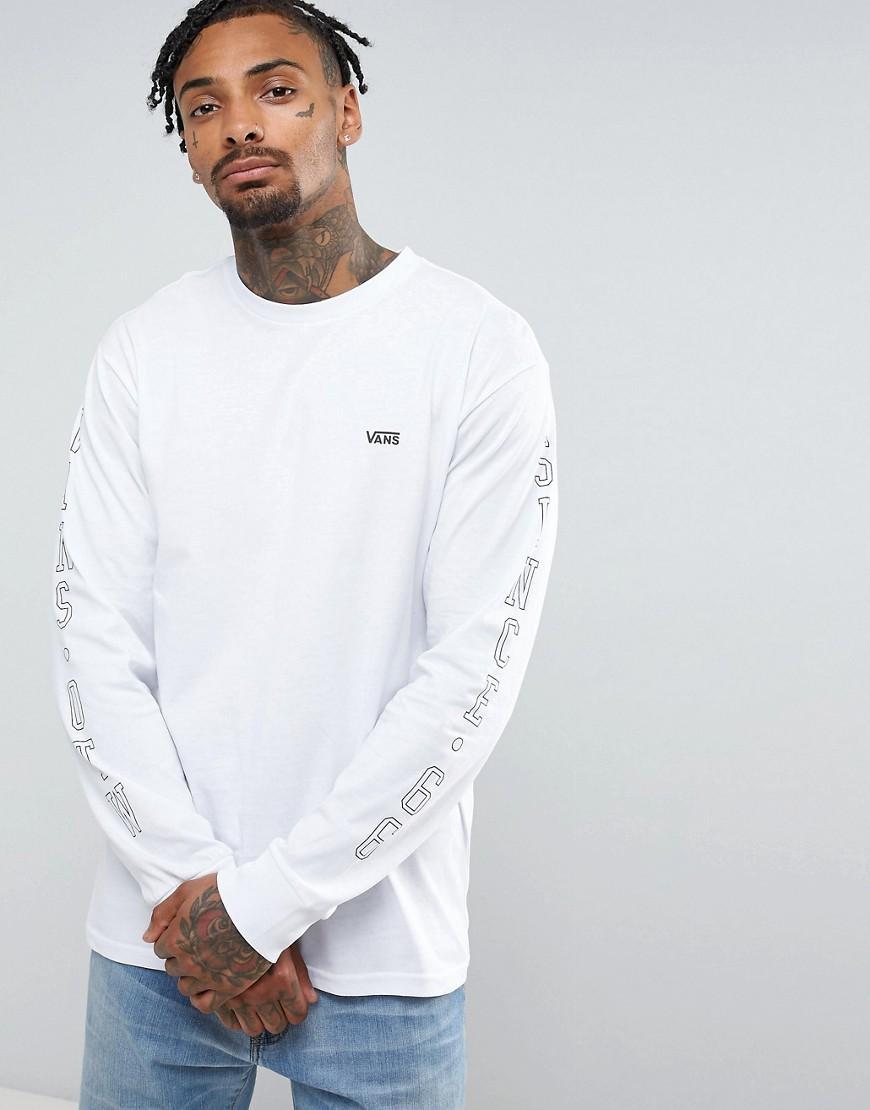 vans otw arm print long sleeve t shirt in white va313lwht