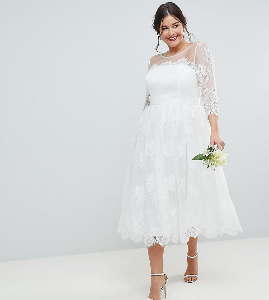 a69ebce7 ASOS Asos Edition Curve Lace Midi Prom Wedding Dress in White - Lyst
