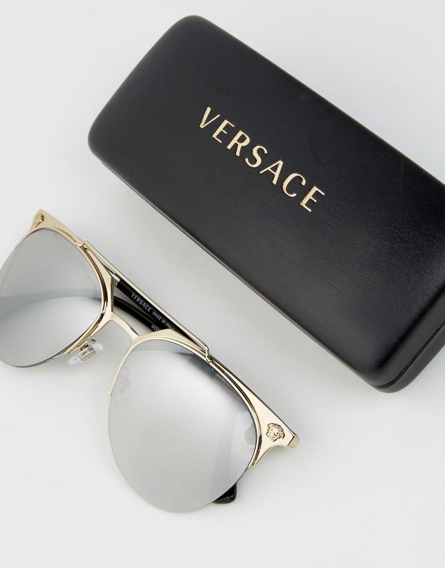 Versace Round Sunglasses With Mirrored Lenses in Gold (Metallic) for Men