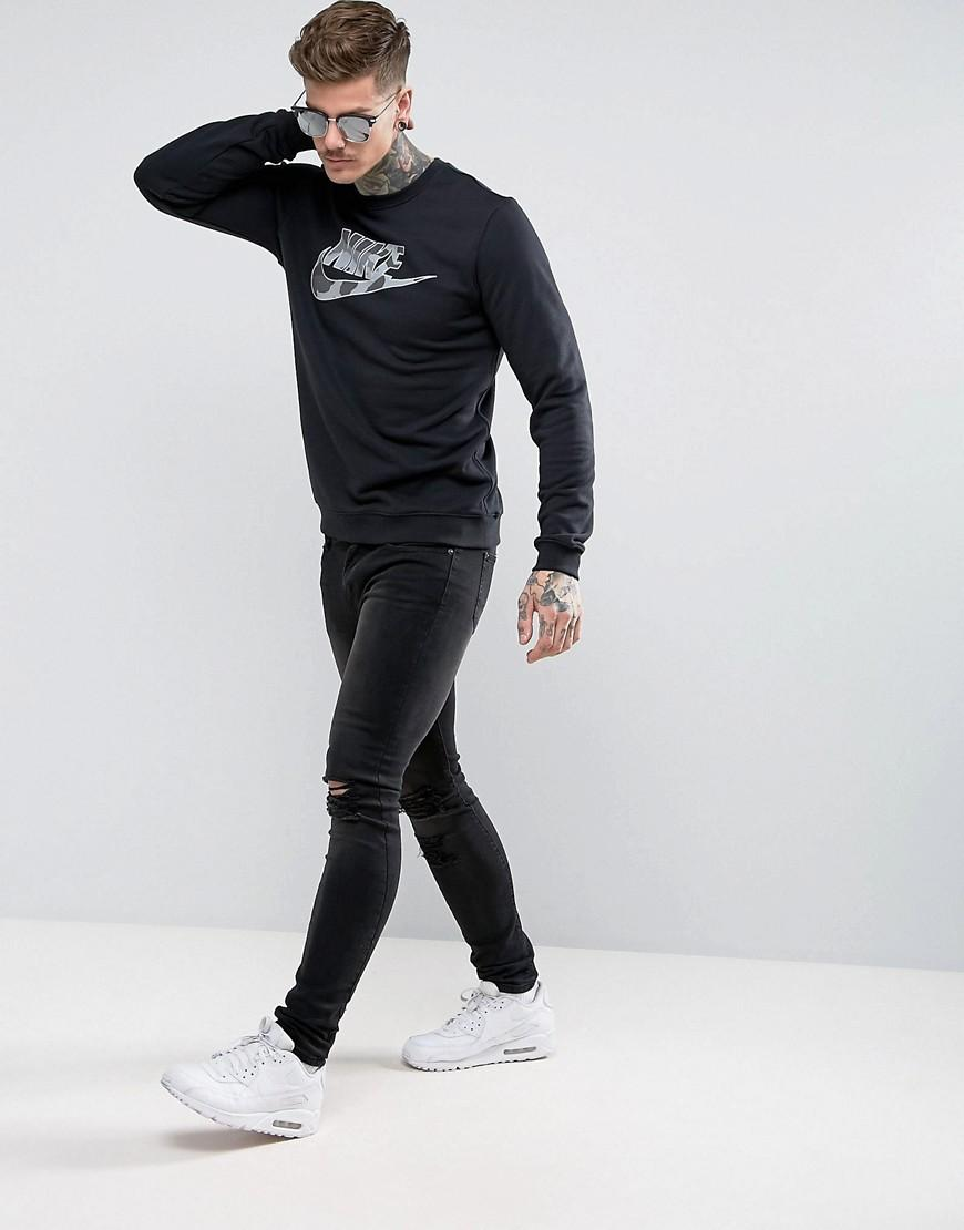 Nike Cotton Sweat With Camo Logo In Black Aa1198-010 for Men
