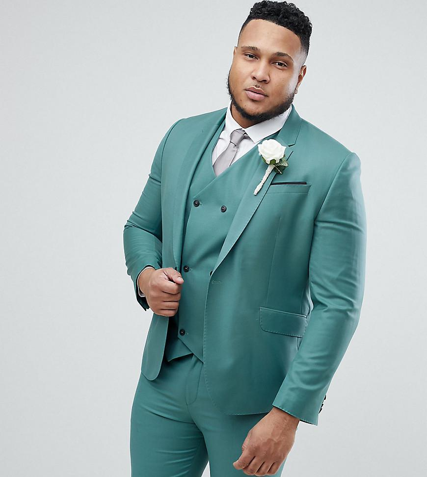 Lyst - Asos Plus Wedding Slim Suit Jacket In Pine Green 100% Wool in ...