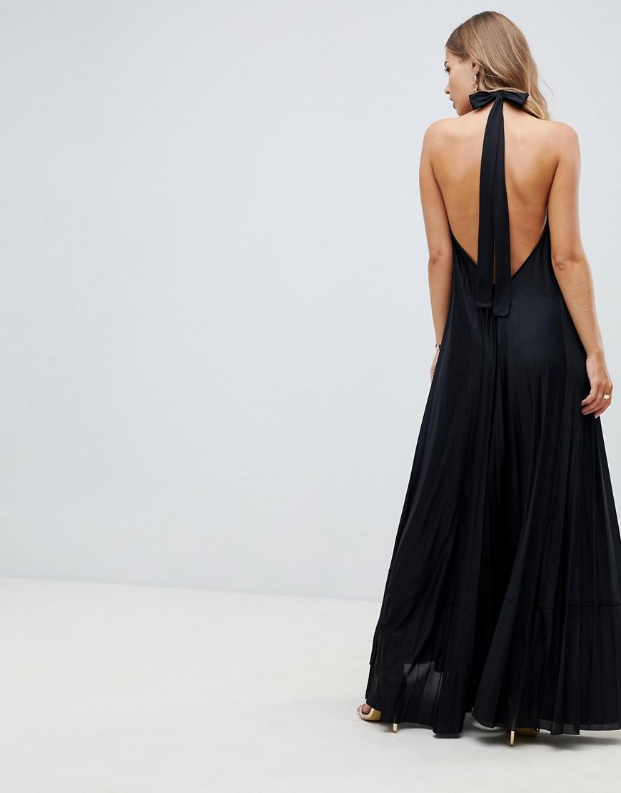 1378a935139 ASOS Vanessa Backless Halter Pleated Maxi Dress in Black - Lyst
