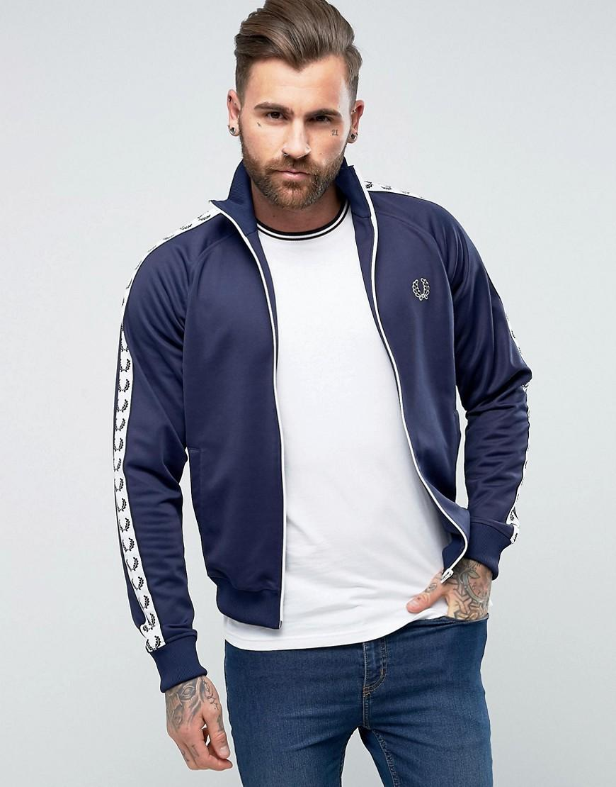 fred perry sports authentic slim fit taped track jacket. Black Bedroom Furniture Sets. Home Design Ideas