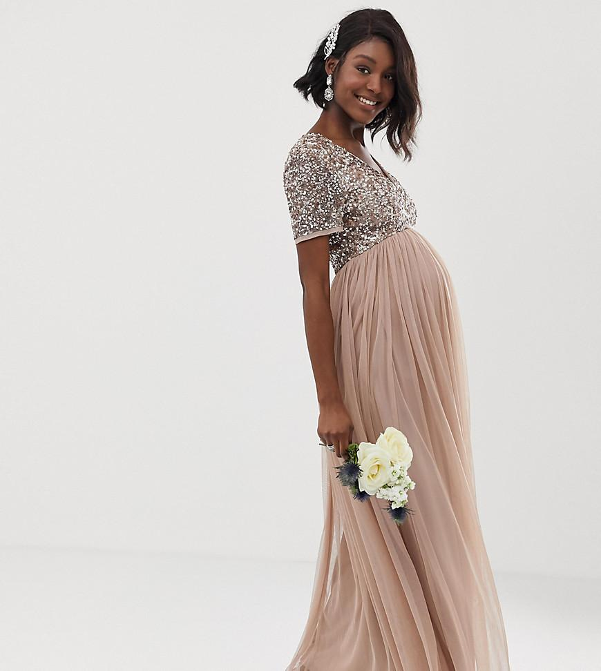 b0e14a4965c Maya Maternity. Women s Brown Bridesmaid V Neck Maxi Tulle Dress With Tonal  Delicate Sequins ...