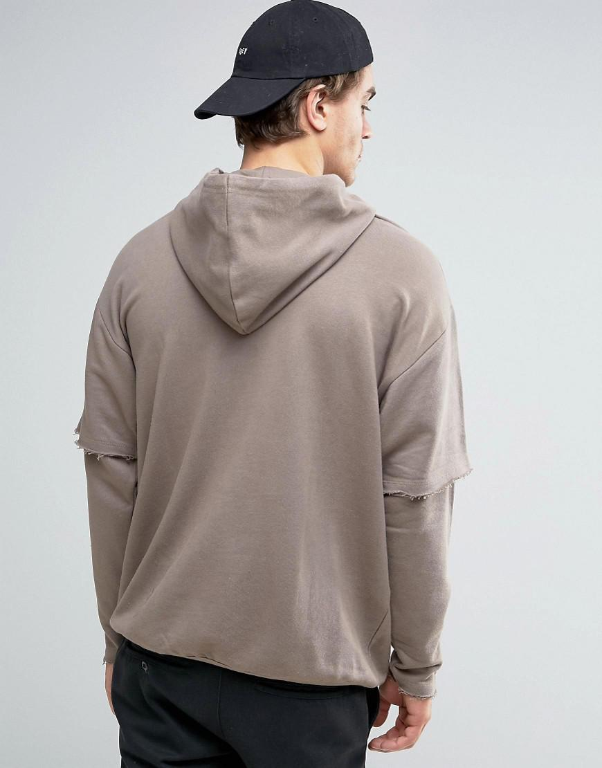 ASOS Cotton Oversized Longline Hoodie With Double Layer Sleeves in Brown for Men