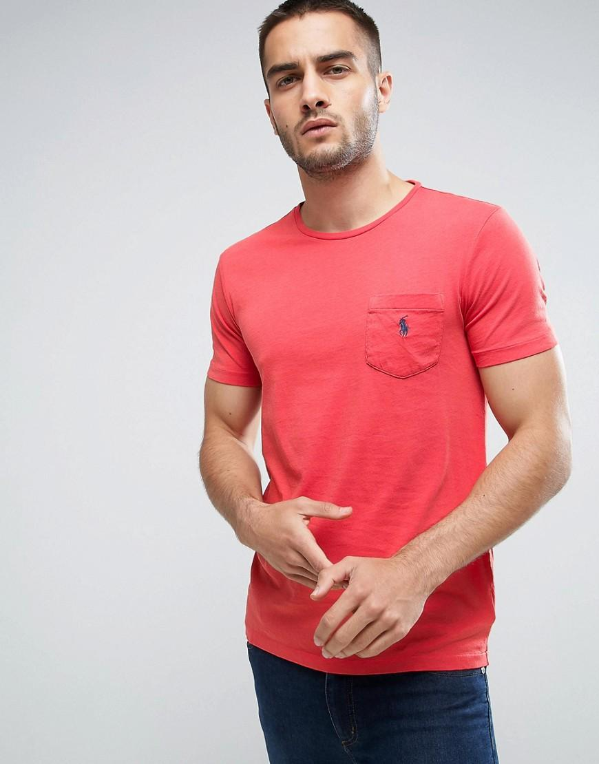 Polo Ralph Lauren Custom Slim Fit Pocket T Shirt In Red In