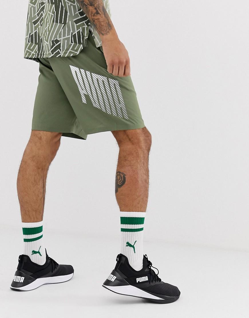 Short de sport 9 pouces en tissu avec logo - Kaki Synthétique PUMA ...