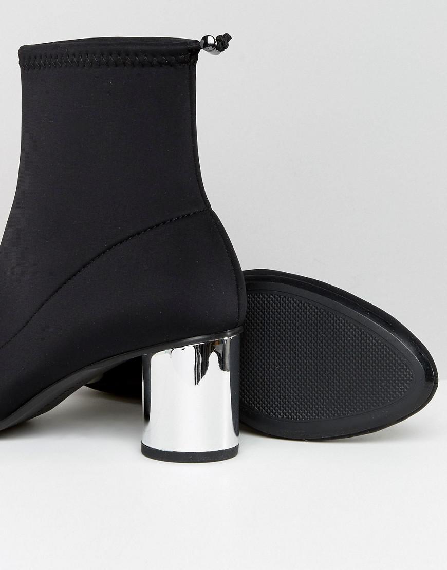 Bershka Suedette High Heeled Boot In Black Lyst