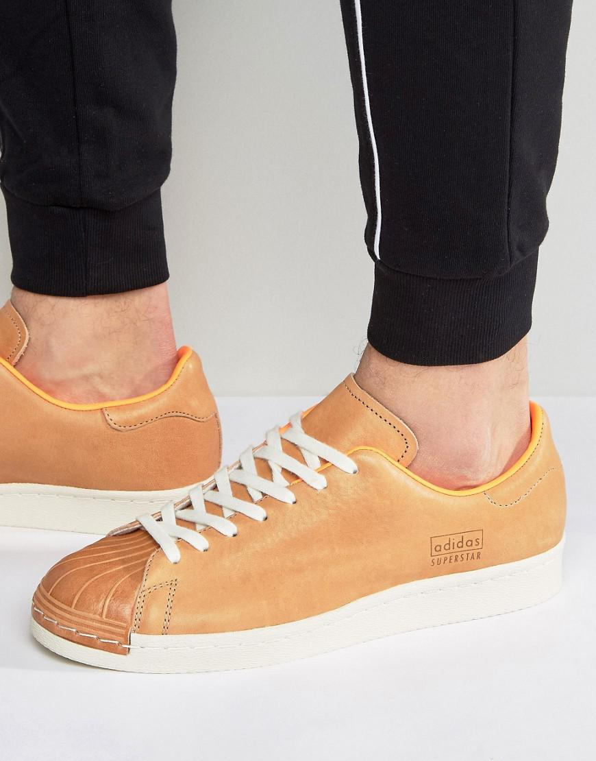 adidas Originals Leather Superstar 80s Clean Trainers In Tan ...