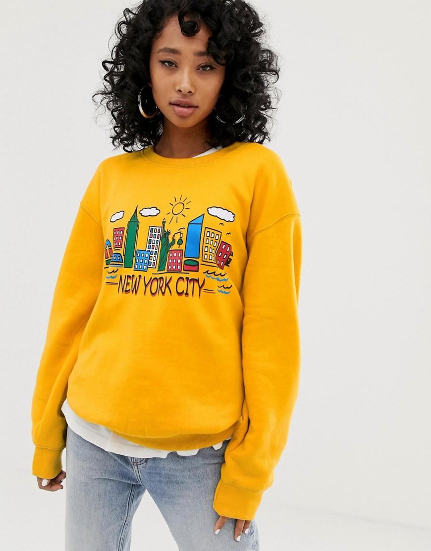 0255c4694dbe Lyst - Daisy Street Oversized Sweatshirt With New York City Vintage ...