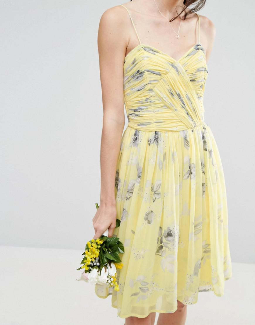 1bd6a48d85e Lyst - ASOS Wedding Rouched Midi Dress In Sunshine Floral Print in ...