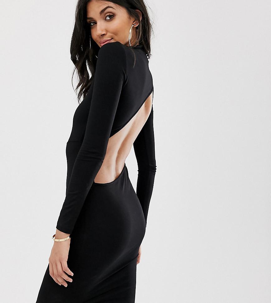 8be7ad66318 ASOS. Women s Black Asos Design Tall Long Sleeve Extreme Open Back Mini Bodycon  Dress