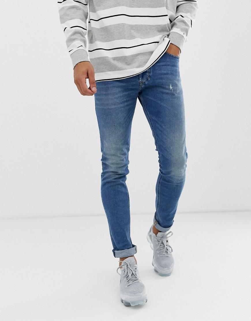 73dfe3c9 Lyst - DIESEL Tepphar Slim Carrot Fit Jeans In 089aw Medium Wash in ...