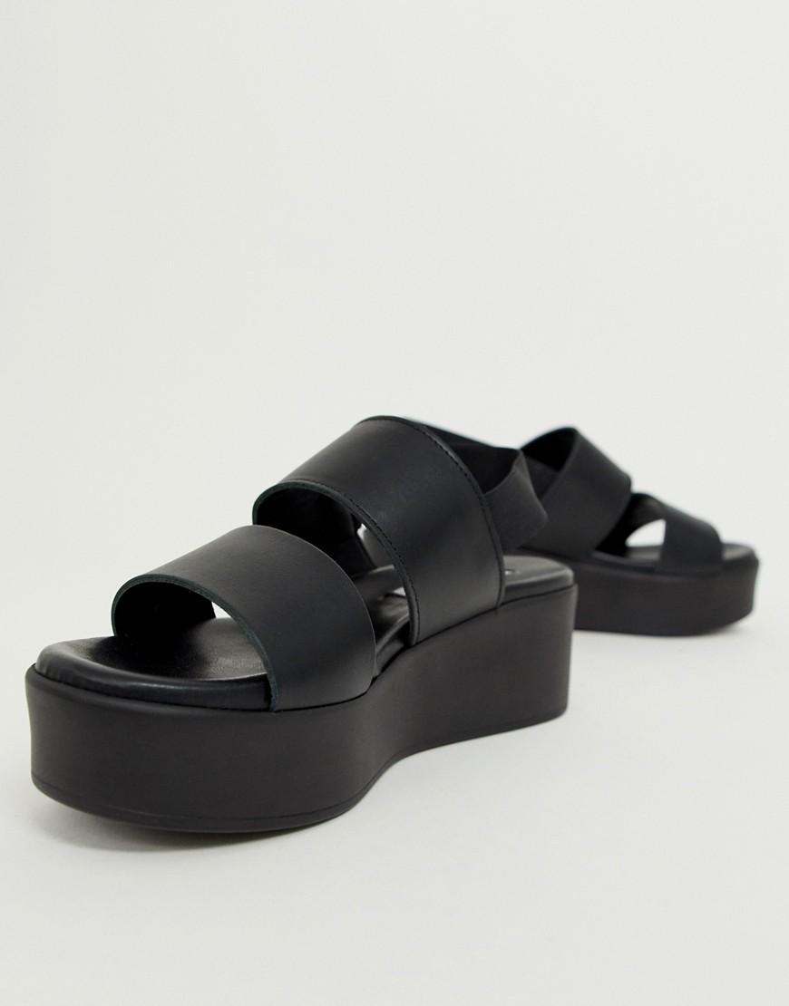 53101dcb6b2e Steve Madden Rene Black Leather Flatform Sandals in Black - Lyst