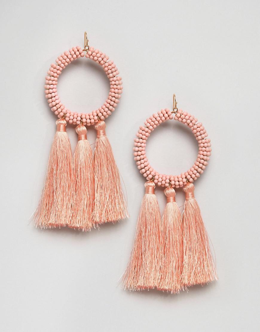 ASOS Denim Asos Statement Beaded Hoop And Tassel Earring in Pink