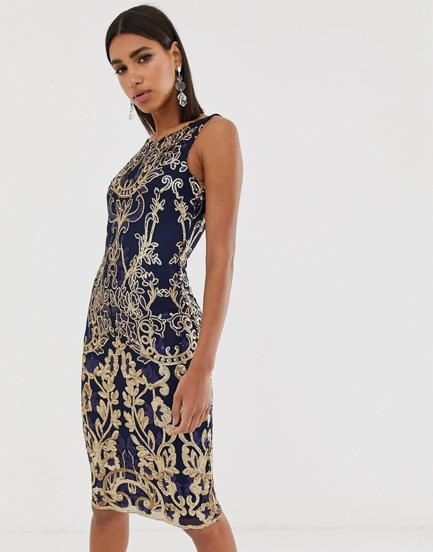 0f9235a9 Goddiva High Neck Midi Embellished Sequin Dress In Navy in Blue - Lyst