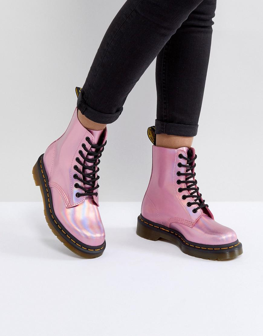Lyst Dr Martens Leather Holographic Pink Lace Up Boots