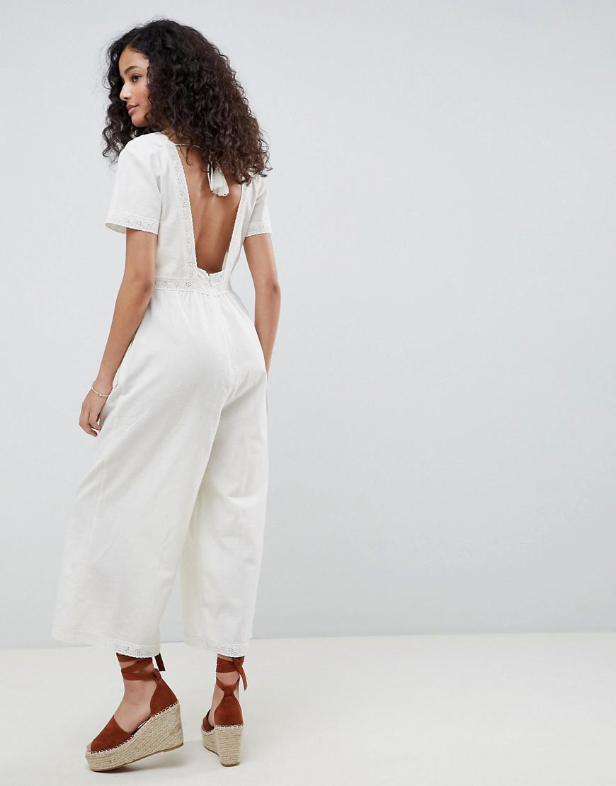 3d447b3e21a Lyst - ASOS Cotton Embroidered Jumpsuit With Tassel Trim