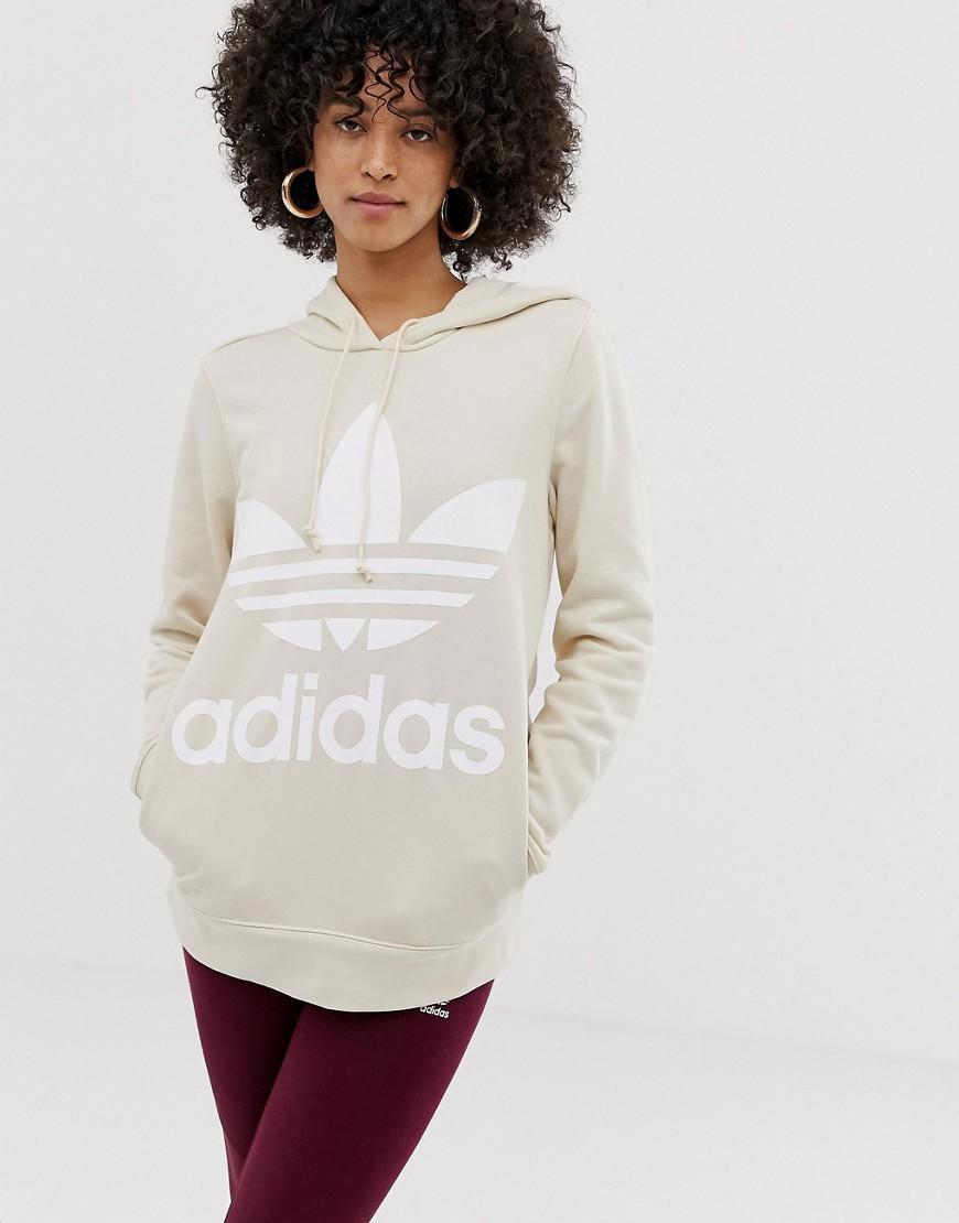 Adidas Originals Trefoil Hoodie in Natural Lyst