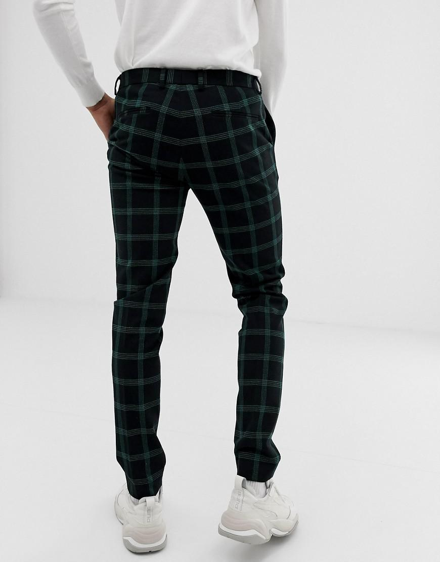 8b85813a04b2b Lyst - ASOS Super Skinny Suit Trousers In Black And Green Windowpane Check  in Black for Men
