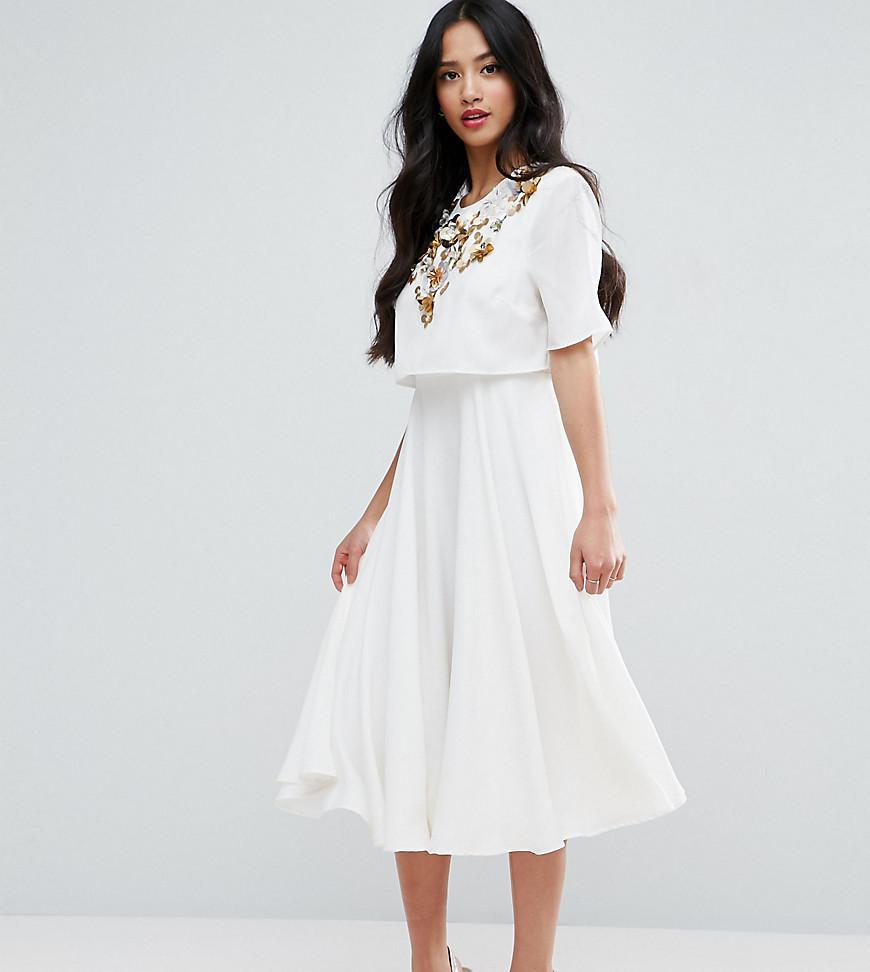 a076dd7910 ASOS Embellished Crop Top Midi Skater Dress in Natural - Lyst