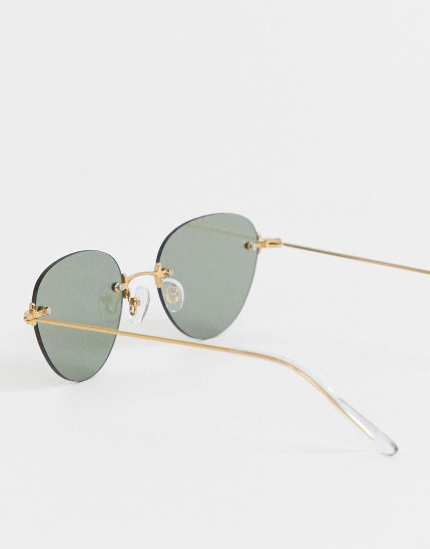48a6e99867 Lyst - ASOS Round Sunglasses In Shiny Gold With Rimless Lens in Metallic  for Men