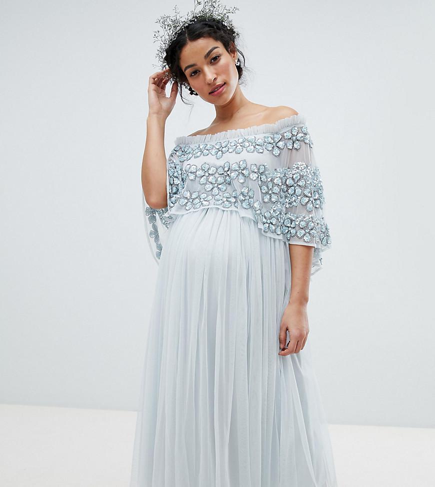 5b90408e835 Maya Maternity. Women s Blue Embellished Bardot Layered Midaxi Dress.  174   70 From ASOS