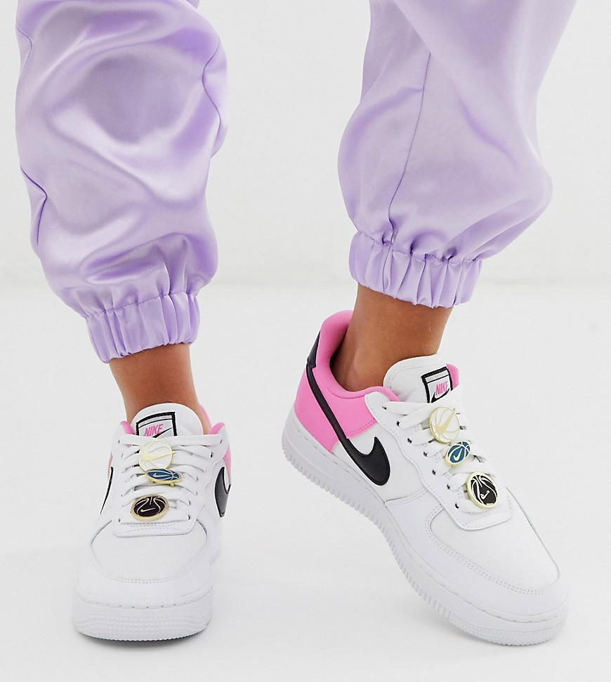 Nike Leather White Pink And Black Basketball Badge Air Force 1 '07 ...