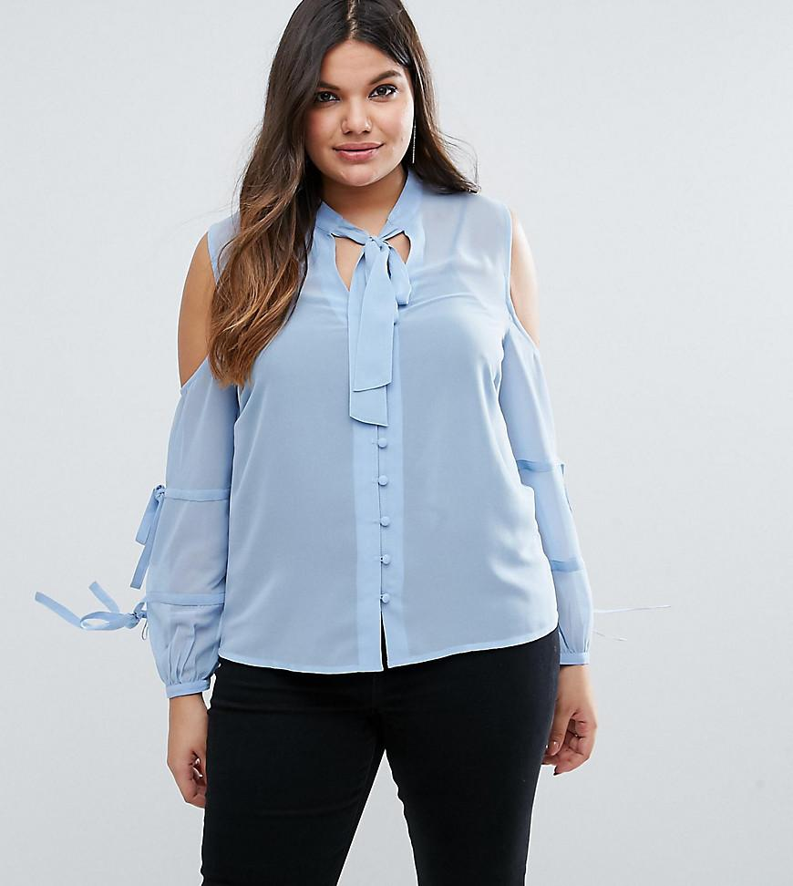 Asos Pussy Bow Blouse With Cold Shoulder And Tie
