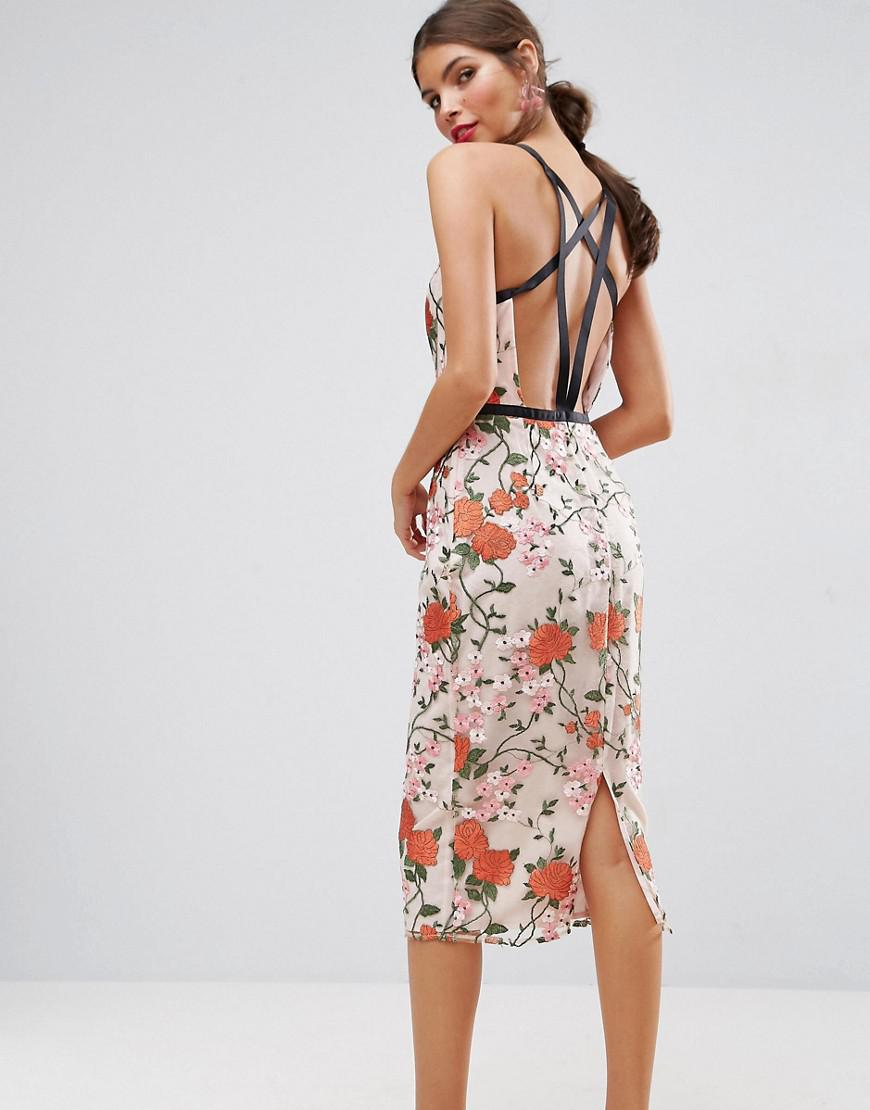 bb0459c3dff3 ASOS Salon Embroidered Floral Midi Dress With Contrast Straps - Lyst