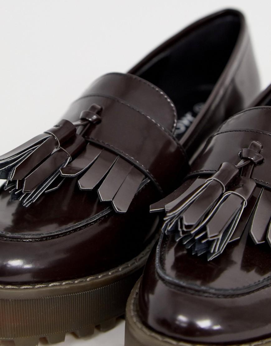 Monki Flatform Loafer In Dark Brown - Lyst