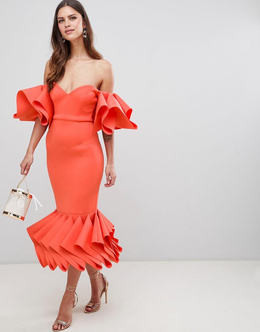 df3c4eccf367 Lyst - ASOS Asos Premium Concertina Hem Bodycon Midi Dress in Orange