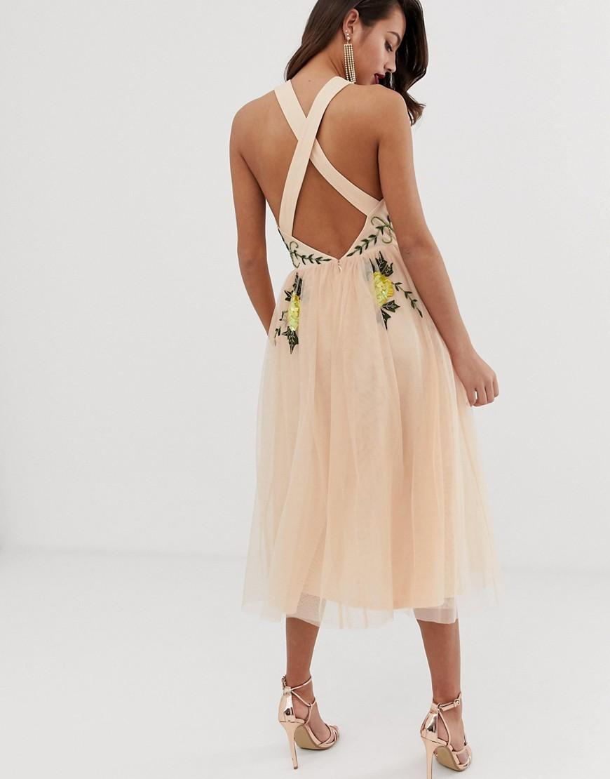 24dd118caa Lyst - ASOS Embellished Halter Midi Dress With Floral Embroidery in Pink