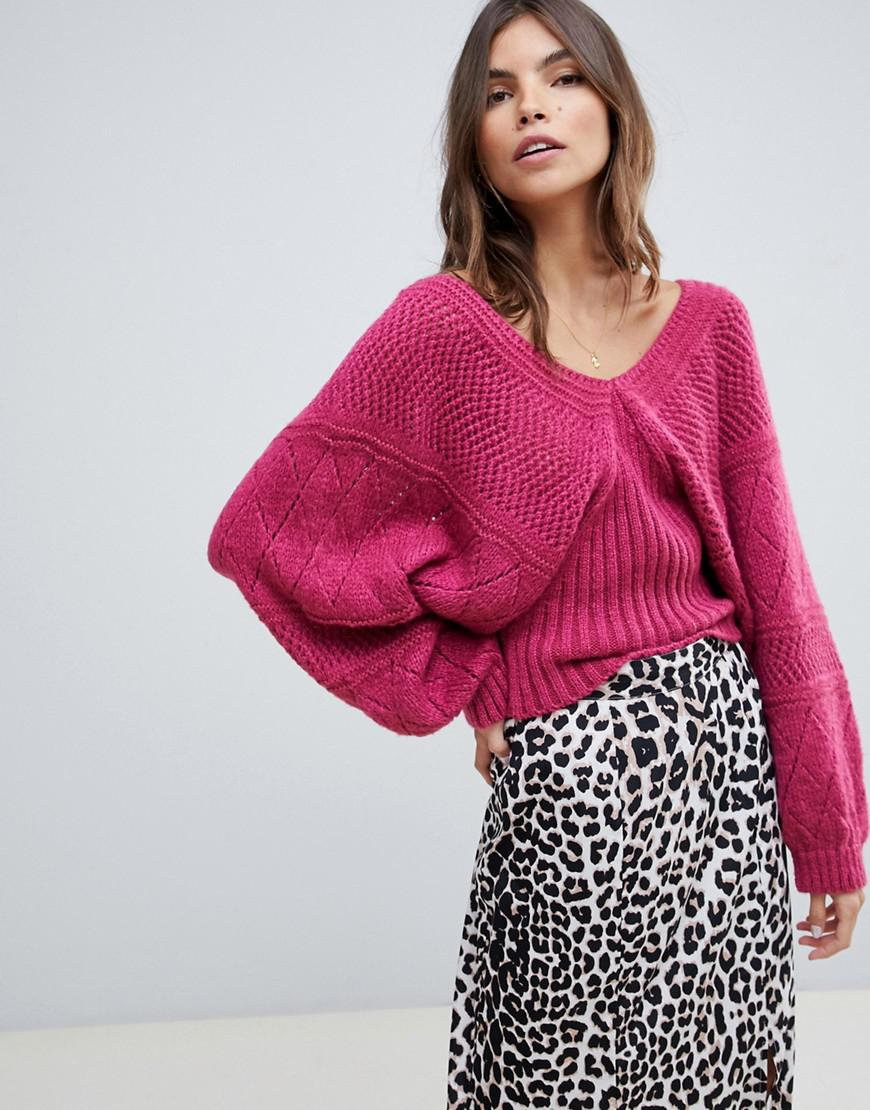 9fef767325 Lyst - ASOS Stitch Detail Jumper With Wide V Neck in Pink
