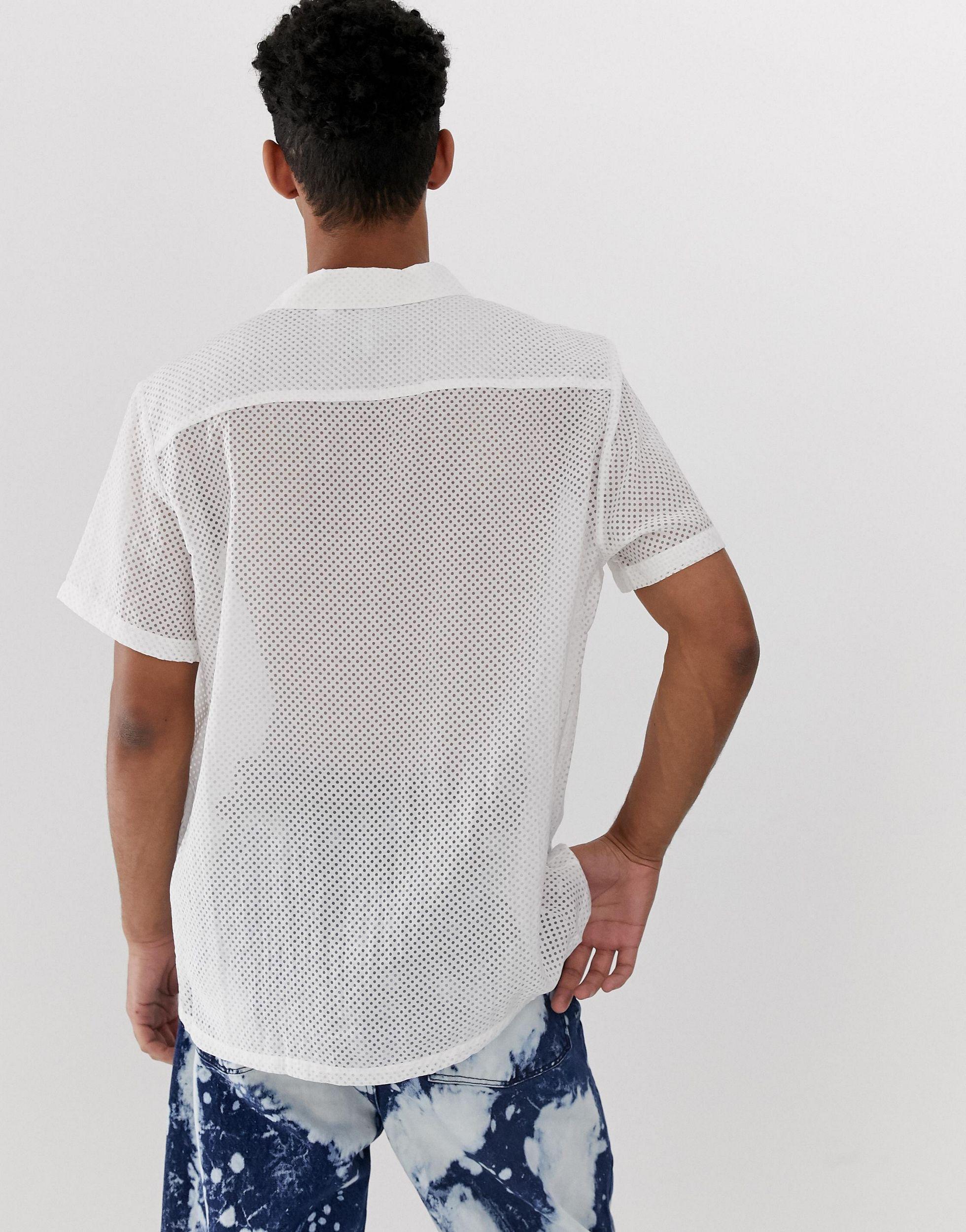 Collusion Denim Burn-out Overhemd in het Wit voor heren