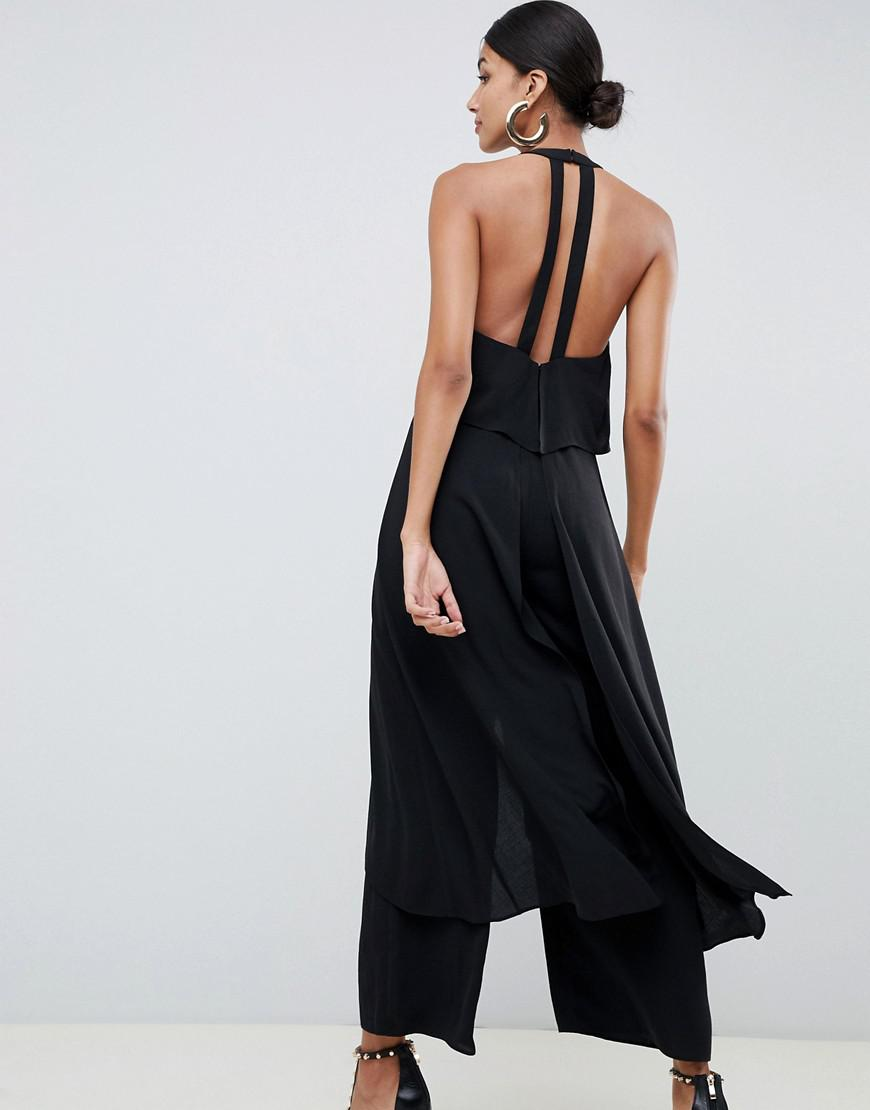 af4ac58910a Lyst - ASOS Asos Design Tall Jumpsuit With Multi Layers in Black