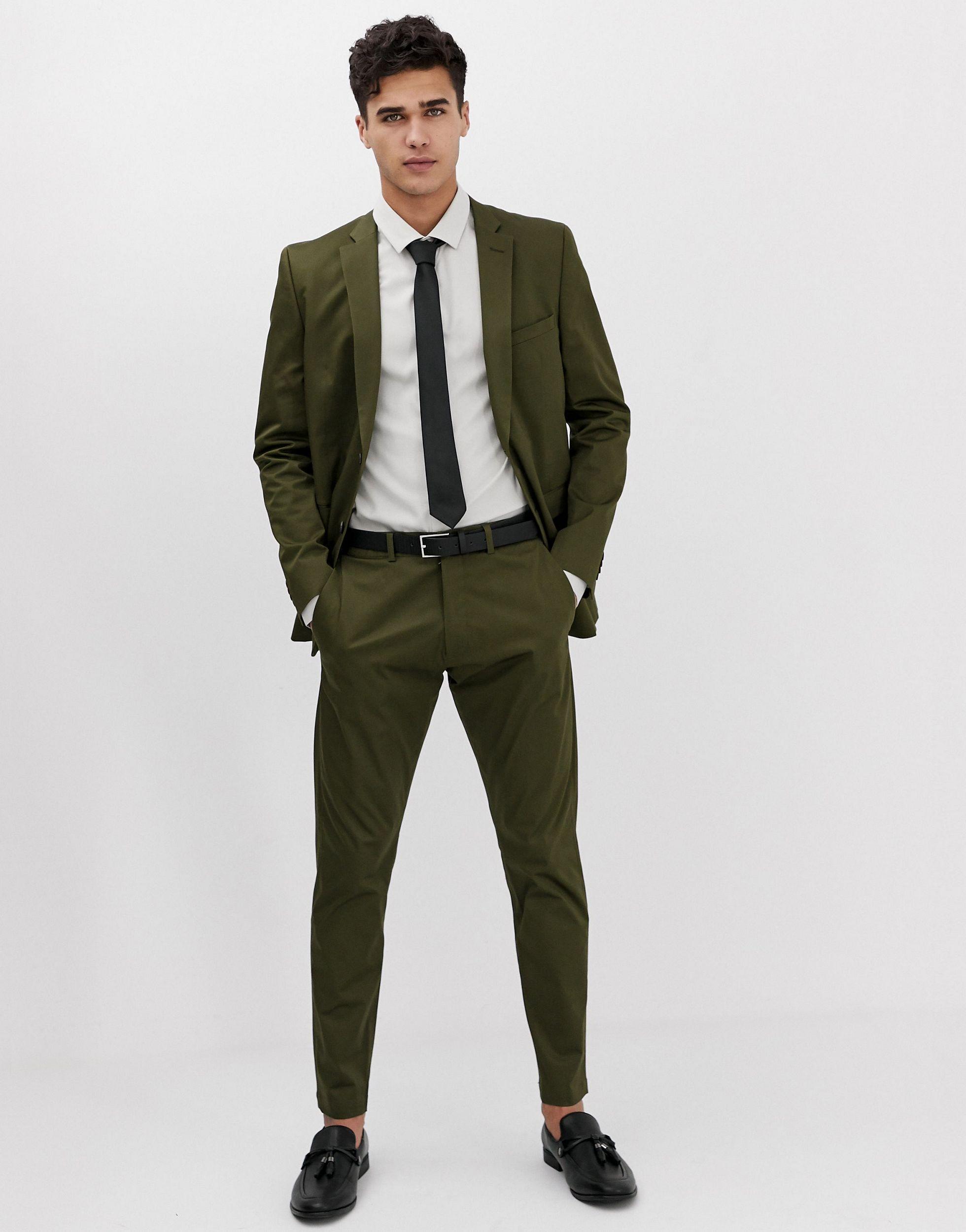 Esprit Katoen Slim-fit Pantalon in het Groen voor heren