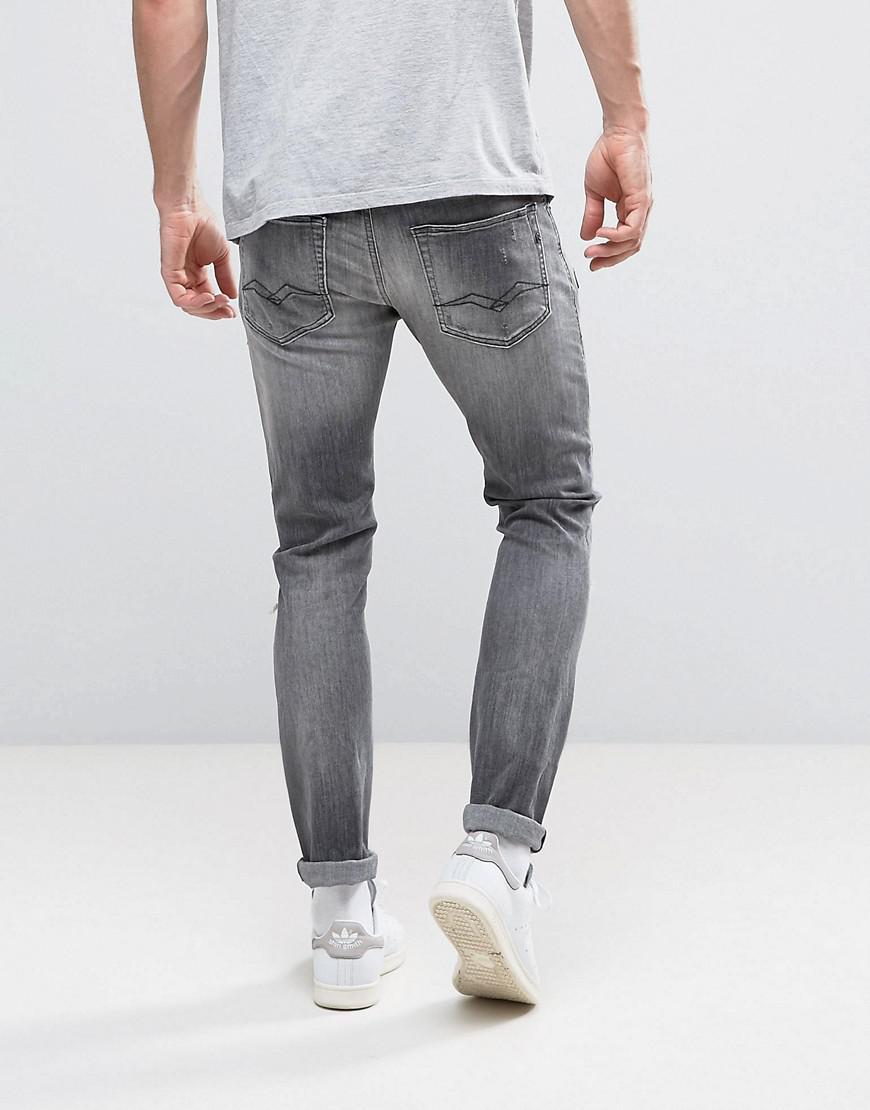 Replay Denim Jondrill Skinny Fit Jeans Gray Ripped Knee Paint Splat for Men
