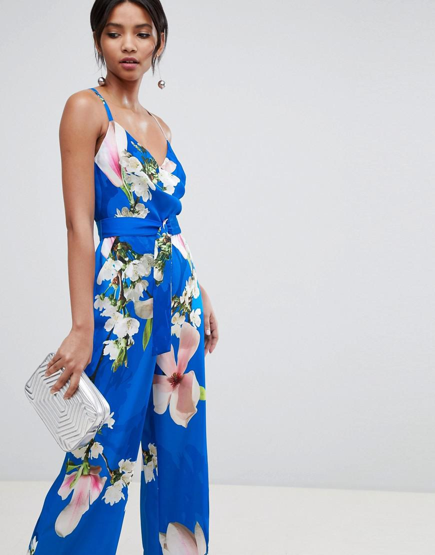 dadf8ca1bd6f Lyst - Ted Baker Wide Leg Jumpsuit In Harmony Floral Print in Blue