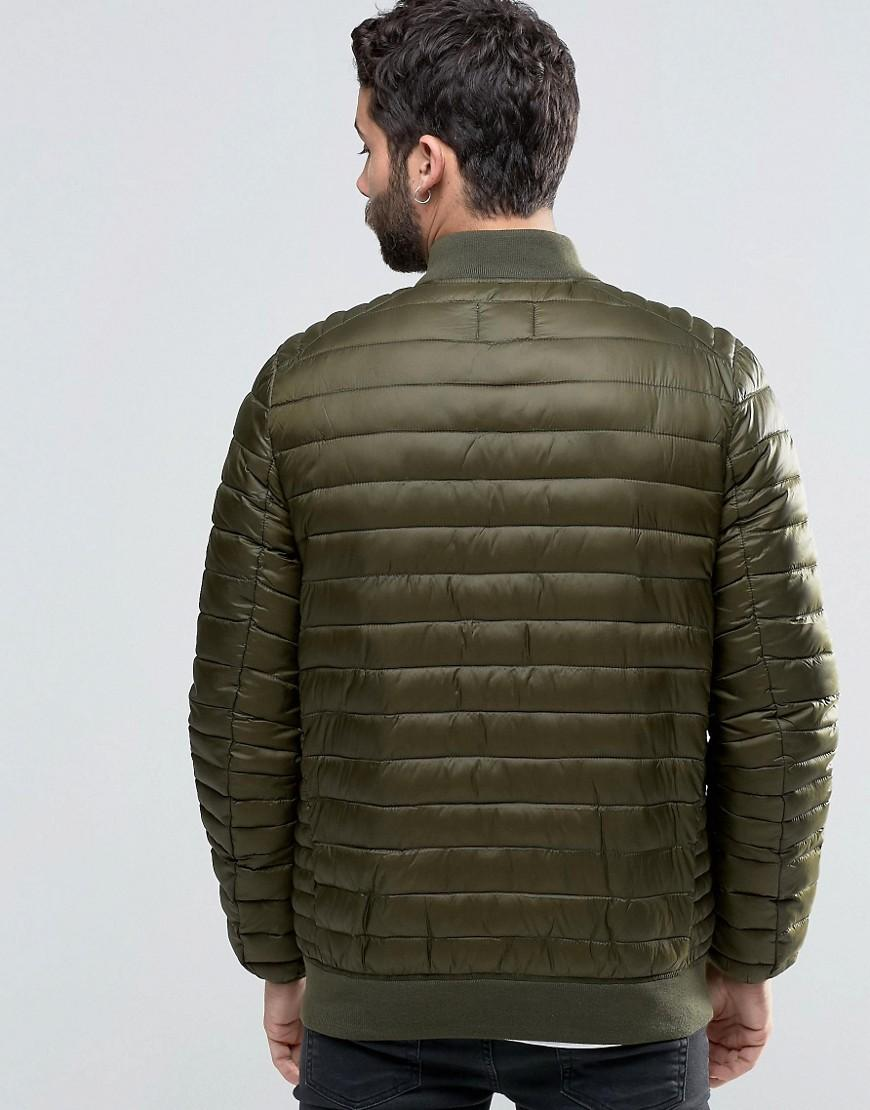 ASOS Synthetic Quilted Bomber Jacket In Khaki in Green for Men