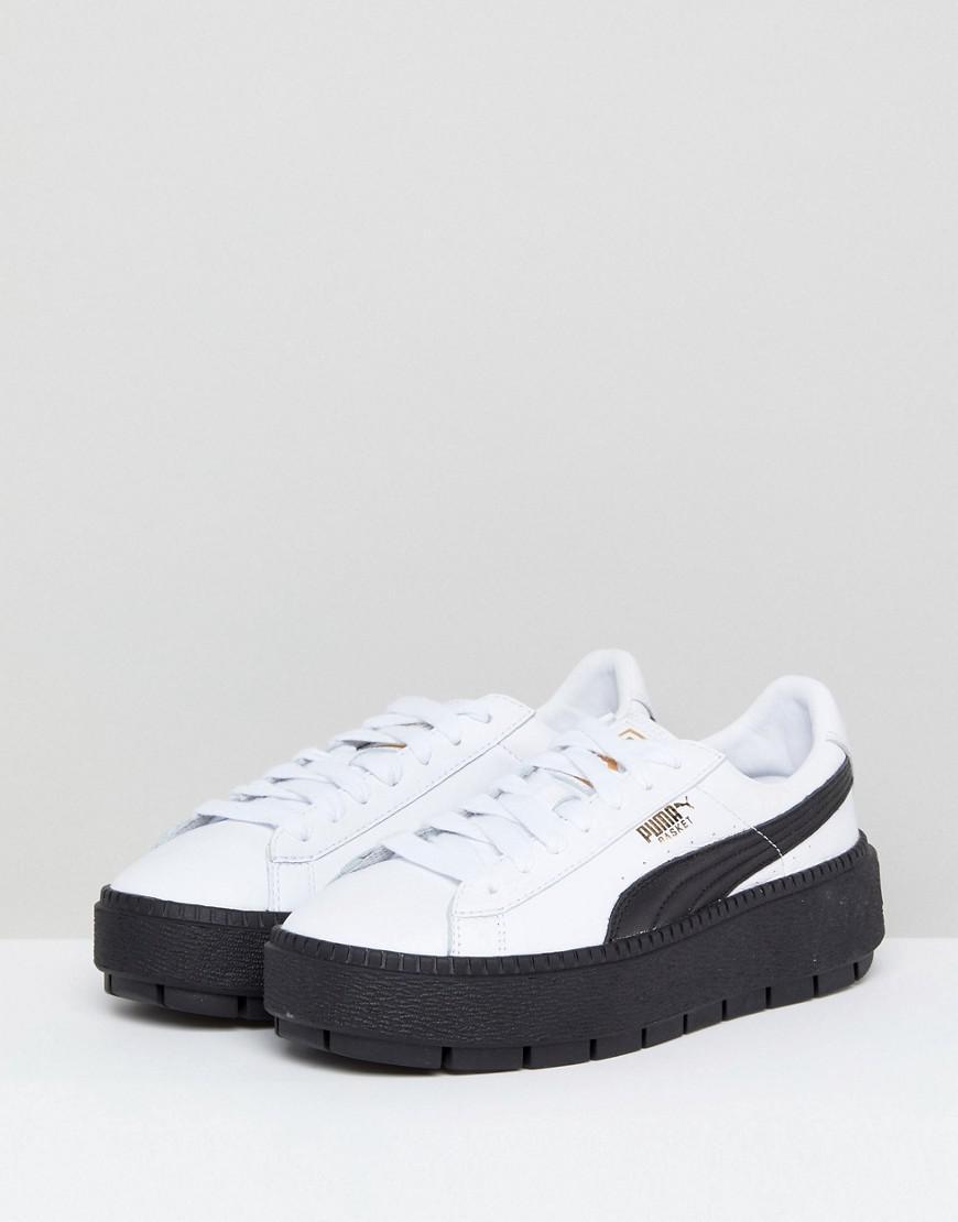 792c1e644ba6 Lyst - PUMA Platform Trace Sneakers In White Black With Gum Sole in Black