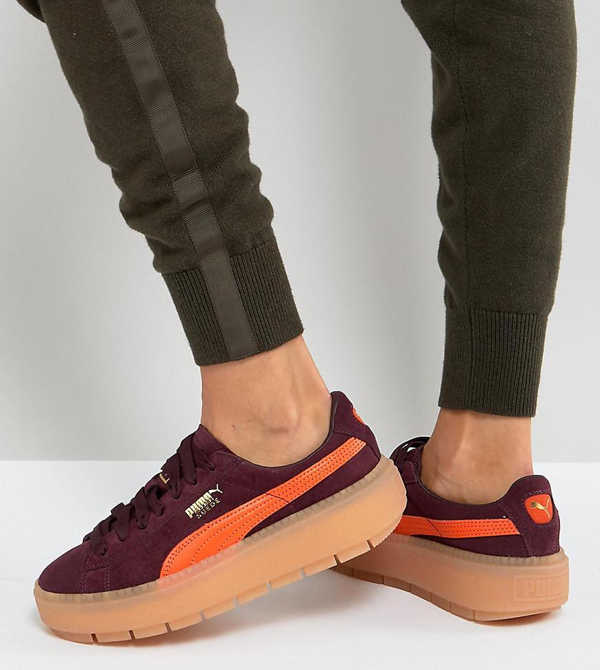 Lyst - PUMA Trace Platform Sneakers In Burgundy And Orange in Black 3742af807